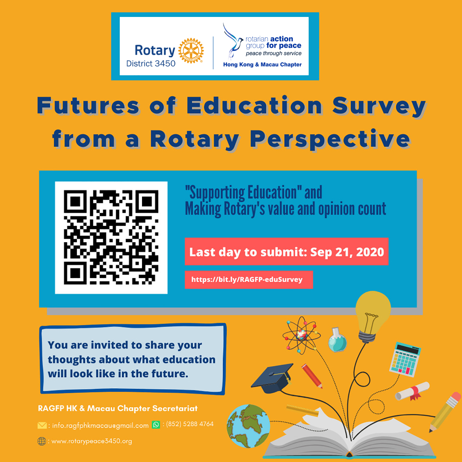 """Futures of Education from a Rotary Perspective"" Survey Launched By PP Mitzi Leung, Convenor, Rotary Action Group for Peace Hong Kong & Macau Chapter"