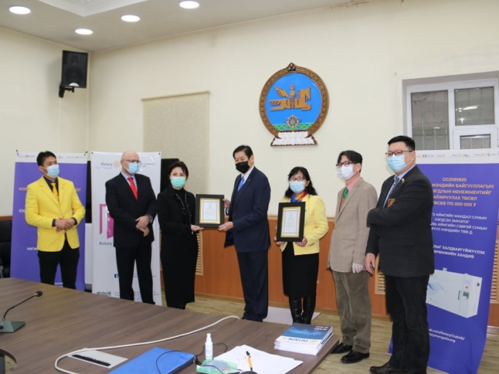 The Mongolian Rotarians' donation to fight the COVID 19 and special equipment donation